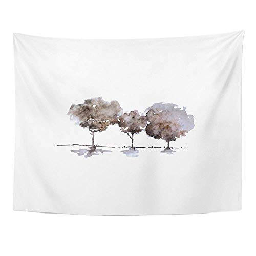 SPXUBZ Wall Tapestry Green Hand Paint Tree Vintage Watercolor Forest Fog DIY Projects Sites Any Area Wall Hanging Decoration Soft Fabric Tapestry Perfect Print for House Rooms