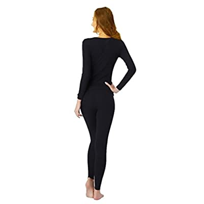 UYES Women's Thermal Underwear Set Top & Bottom Fleece Lined at Women's Clothing store