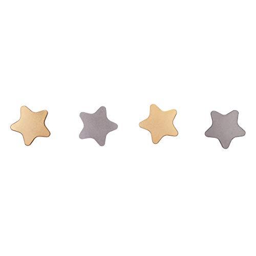 Hook Star Coat (SDH Stars Wall Mounted Coat Hooks for Kids Room/Kids/Bedroom/Bathroom/with Universe Theme Wall Stickers backsplash/Decorative/Modern/Cute/Garment Friendly/Heavy Duty/DIY/Silver & Gold Color/4 x Hooks)
