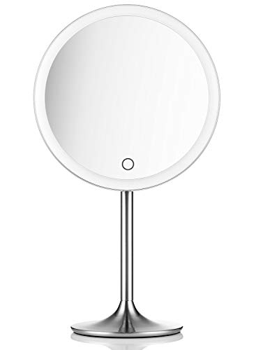 Makeup Mirror 10x (Miusco Lighted Makeup Vanity Mirror Pro, 5X + 10X Magnification, Ultra Bright HD Lighting System, Rechargable & Cordless, Touch Activated, Brush Stainless Steel)