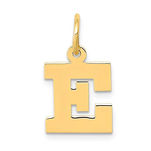 14k Yellow Gold Small Block Initial Monogram Name Letter E Pendant Charm Necklace Fine Jewelry Gifts For Women For Her ()