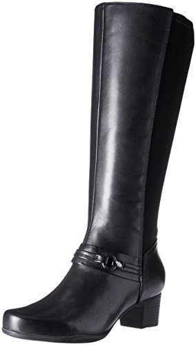 CLARKS Women's Rosalyn Clara Rain Boot, Black Waterproof Leather, 8.5 M US