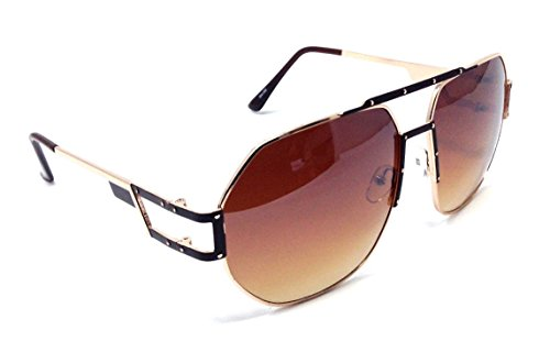 Munich Oversized Square Flat Top Aviator Sunglasses w/ Top Bar (Brown & Gold Frame, Brown - Sunglasses Munich