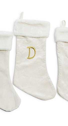 personalized monogrammed initials letters christmas gift stockings classic xmas colors cream w white plush