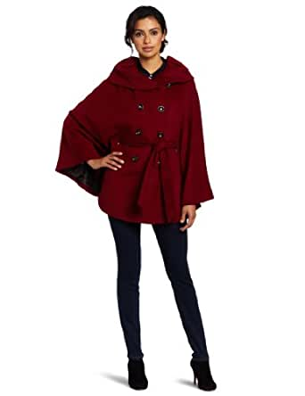 Calvin Klein Women's Folded Collar Cape, Red, Large/X-Large