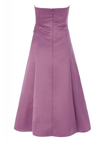 Satin Laenge Brautjungfer Tee GEORGE Einfache traegerlose BRIDE Abendkleid Lavendel Kleid q4wfSF
