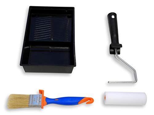 TECPINT KIT MUEBLES Mini Rodillo de Pintura con Cubeta y Pincel - Para pintar con Pintura a la Tiza - Pintar Muebles - Calidad Profesional - Rodillo 11 cm - Brocha 40 mm - Cubeta Plana 11 cm