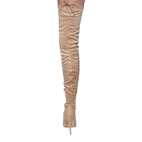 Pointy Boots Toe Women's Nude Thigh Liliana GE32 Drawstring High Stiletto qERWwF4x