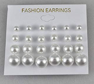 White earrings 12 pair set pack graduated faux pearl bead small stud post 5-9mm
