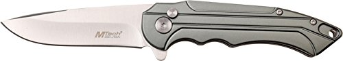 MTECH USA MT-1022GY Manual Folding Knife, Satin Silver Straight Edge Blade, Grey Handle, 4.5-inch Closed by MTECH USA