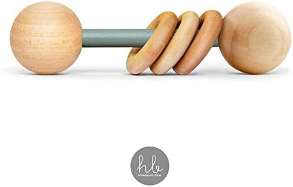 Natural Wood Baby Teething Ring and Rattle Handmade in USA