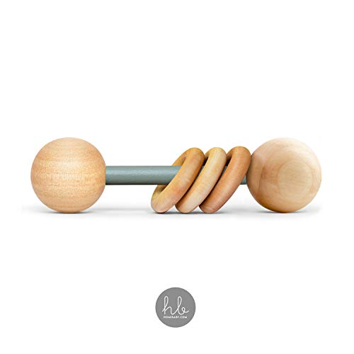 Organic Wood Montessori Styled Baby Rattle by Homi Baby - Perfect Grasping Teething Toy for Toddlers - Handmade in The USA - Sealed with Organic Virgin Coconut Oil & Beeswax (Sage)