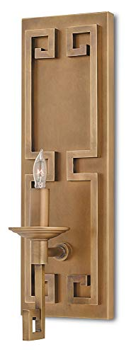 Currey and Company 5230 Greek Key - One Light Wall Sconce, Antique Brass Finish