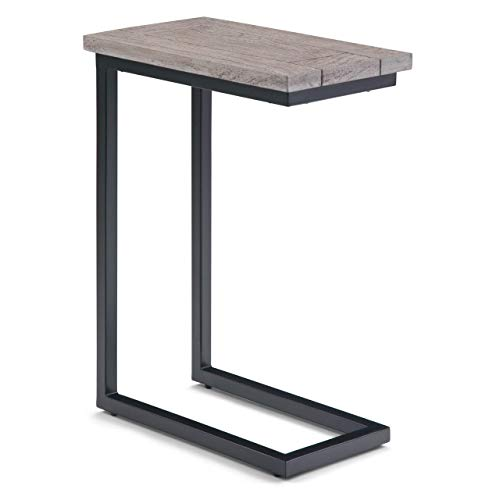 Simpli Home 3AXCSKY-09BI Skyler Solid Mango Wood and Metal 18 inch Wide Industrial C Side Table in Birch, Fully Assembled