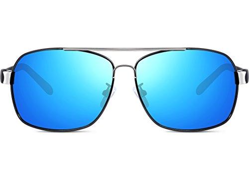 Ligero Súper Polarizado Hombre Gafas Sol Rectangulares Uv400 Metal De Azul Marco De ATTCL qXvUPdwP