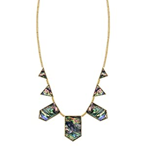 House of Harlow 1960 Gold Plated and Abalone Station Necklace