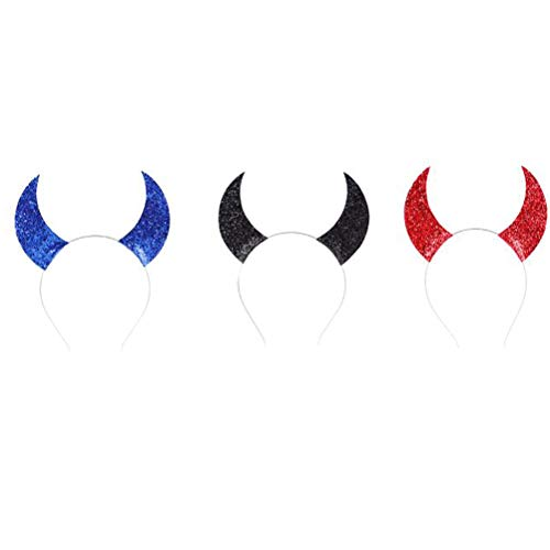 Beaupretty 3pcs Halloween Sequins Devil Horns Headband Cosplay Masquerade Props Holiday Party Headband for Women Girls Kids