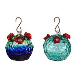 Evergreen Garden Large Glass Hanging Hummingbird Feeders, Set of 2 (Feeder Crackle Hummingbird)