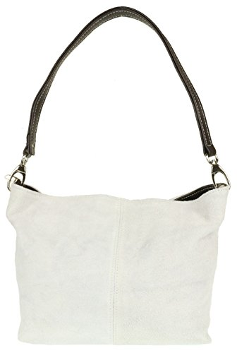Girly HandBags New Genuine Suede Leather Handbag Shoulder Bag Tote White