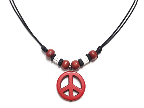 Red Gummy Bear Costume (Peace Sign Necklace - Peace Symbol Necklace - Stone Peace Sign Pendant - Adjustable Black Cord (Red))