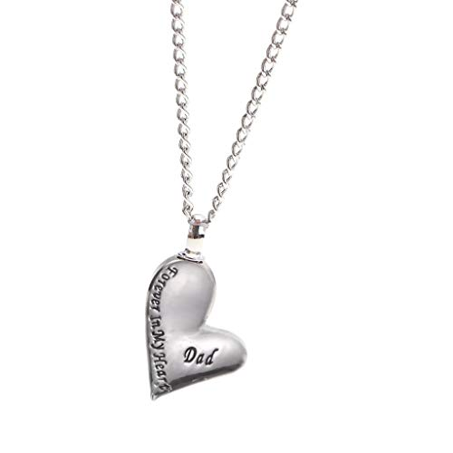 Forever in My Heart Dad Urn Leaning Heart Pendant Ash Cremation Necklace
