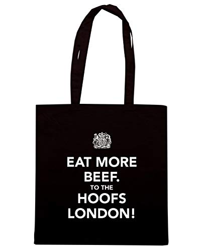 Borsa Shopper Nera TKC3708 EAT MORE BEEF TO THE HOOFS LONDON