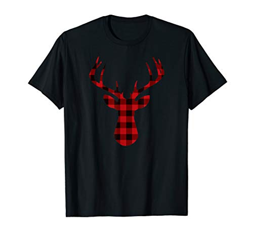Plaid Reindeer T Shirt Holiday Christmas Tee for Women Men