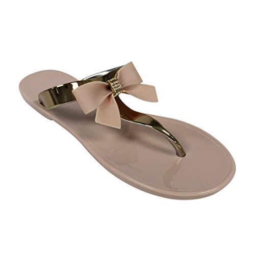 VeeVee Women's Jelly Sandals With Bow and Metallic straps - Nude - Medium