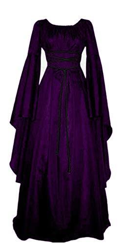 Jewelry Lolita (LSEZHIWU Women's Medieval Renaissance Retro Corset Lolita Dress with Jewelry Soft Dress for Halloween Costumes (XXL, Purple))
