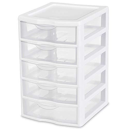 5 Drawer Tower Plastic Organizer Storage Office Cabinet Box Furniture Dresser