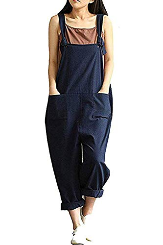 Lncropo Women's Baggy Overalls Jumpsuits Casual Wide Leg Bib Pants Plus Size Rompers(L, Blue) -