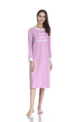 (lantisan Cotton Knit Nightgowns for Women, Henley Knee Length Soft Nightshirt (Medium / US8-10, Purple2))