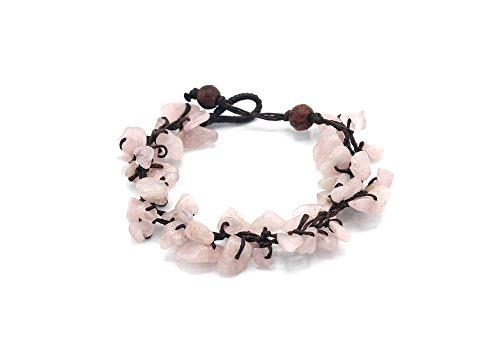 MGD, Pink Rose Quartz Chip Bead Bracelet, 19 cm w/ 1 Inch Extend 3-Strand Bracelet, Wrap Bracelet, Women Fashion Jewelry, JB-0338B