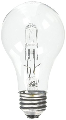 OSRAM SYLVANIA Tungsten Halogen Lamp, A19, 28 Watts, 120 Volts, Medium Aluminum Base, Clear, 2 Per Box-2489231