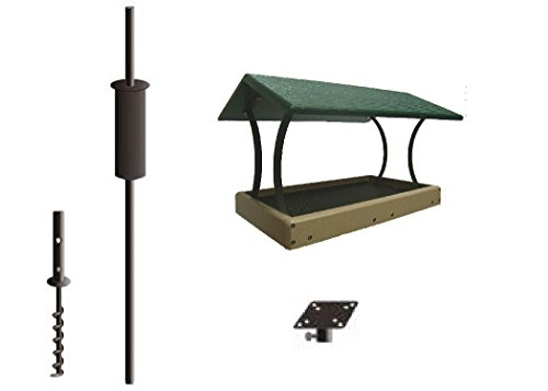 Birds Choice Recycled Fly Thru Feeder with Pole Kit, Medium, Green