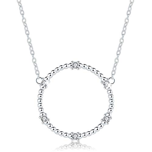 Esberry✦18K Gold Plated S925 Sterling Silver CZ Circle Pendant Necklace Cubic Zirconia Round Pendant with Necklace for Women and Girls (White Gold-1)