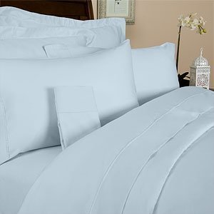 Percale California King Size 300 Thread Count Solid Blue Sheet Set 100 % Cotton (Deep Pocket) (300tc Solid Sheet Set)