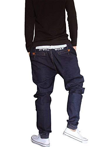 Denim Rap Dunkelblau Streetwear Amre Casual Stile Hip Larghi Pantaloni Uomo Moderna Da Harem Hop ng6vvRaq