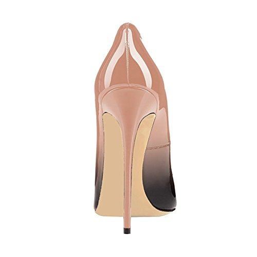 EDEFS Womens Pointed Toe High Heel Court Shoes Sexy Stiletto Pumps Cut-outs Dress Shoes Beige I1UrqyJ1