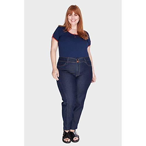 Calça Recorte Amaciado Plus Size Azul-48