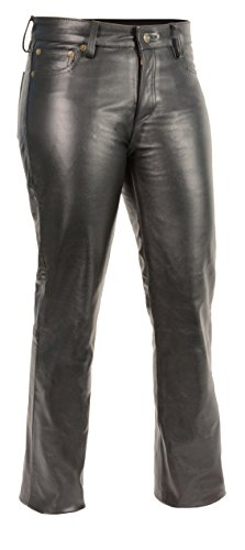 M-BOSS Motorcycle Apparel-BOS26501-BLACK-12-Women's Classic 5 Pocket Leather Pants-BLACK-12 ()