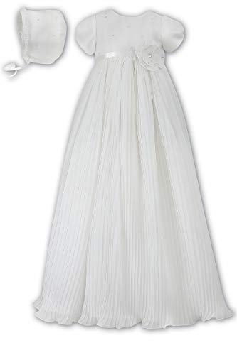 Sarah Dresses Louise Christening - Sarah Louise Ivory Pleated Organza Christening Robe & Bonnet (Ivory, 3 Months)