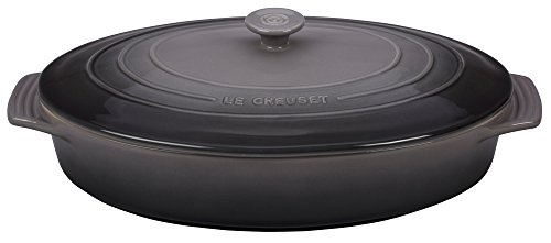 - Le Creuset Stoneware Covered Oval Casserole, 3-3/4-Quart, Oyster