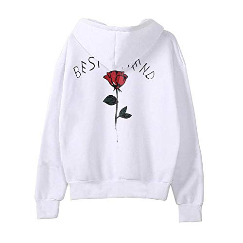 kaifongfu Women's Rose Letter Print Sweater Top Long Sleeve Hooded Blouse Shirt(White,S)