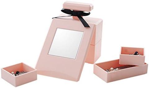 香水型 鏡付き アクセサリー収納ケース 箱 3色対応(ピンク ブラック ホワイト) (ピンク)