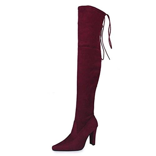 Bottes High Faux Chaussures Genou sur Stretch Lace Femmes Heel Up Slim zahuihuiM Rouge Automne Le Mode x0nfAvwq6