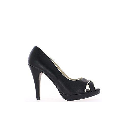 Escarpins ouverts femme noirs à talons de 11cm et plateau de 2cm