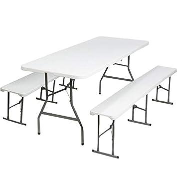 ProBache - Table pliante portable 180 cm et 2 bancs pliables pour ...