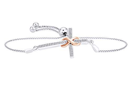 Diamond Cross Link Bracelet - White Diamond Accent Infinity Wrap Cross Bolo Bracelet in 14k White Gold Over Sterling Silver & 10k Solid Gold- 9.5