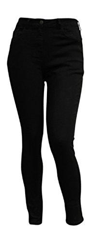 Mesdames Femme de Dames Femmes Cinq pochette Skinny Slim Stretch Jeans Jean Plus Tailles Black Indigo Blue White (Taille UE 42-60) Noir